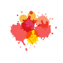 Watercolor splashes. Paint vector splat. .Stains grunge texture. Isolated on white background. Pink, yellow and red colors.