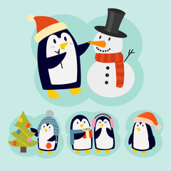 Penguin christmas vector illustration character cartoon funny cute animal antarctica polar beak pole winter bird.
