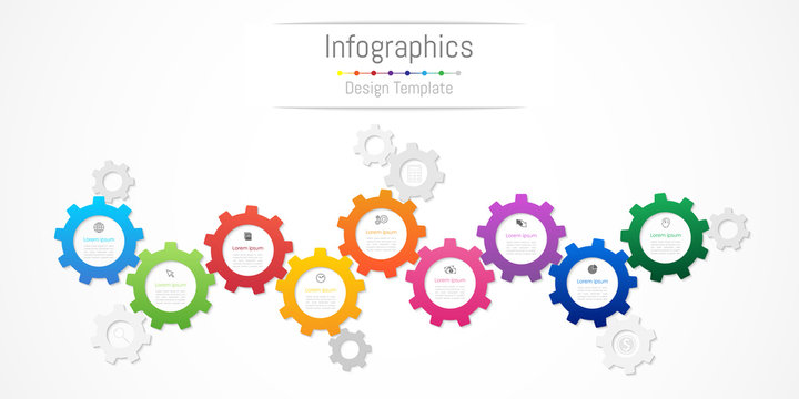 Infographic design elements for your business data with 9 options, parts, steps, timelines or processes. Gear wheel concept, Vector Illustration.