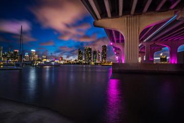 Miami Causeway Bridge Lit Up at Night
