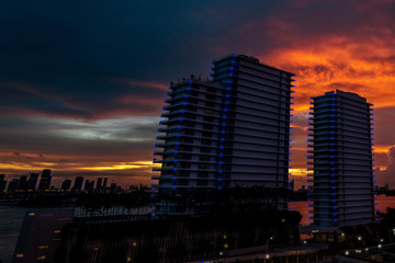 Miami Hotels against Sunset Skyline