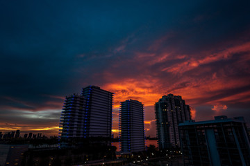Miami Hotels against Sunset Sky
