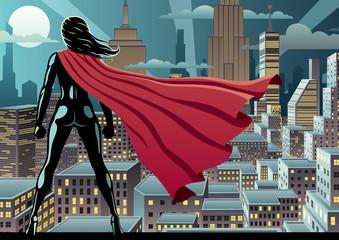 Super Heroine Watch 3 / Superhero watching over city at night.