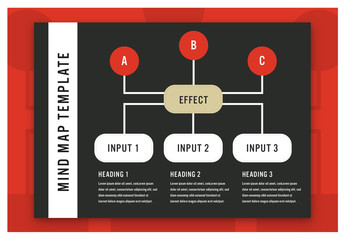 Black and White Mind Map Layout with Red Accents 1