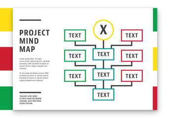 Red and Green Mind Map Layout with Yellow Accents 1