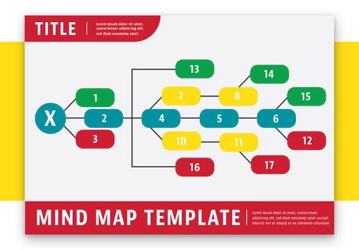 Mind Map Layout with Red Header/Footer 1