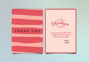 Abstract Pink Thank You Card Layout