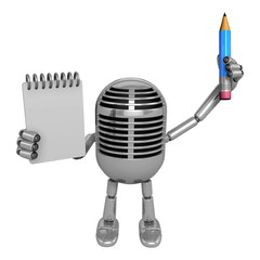 3D Classic Microphone Mascot hand is holding a notebook and Pencil 3D Classic Microphone Robot Character Series.