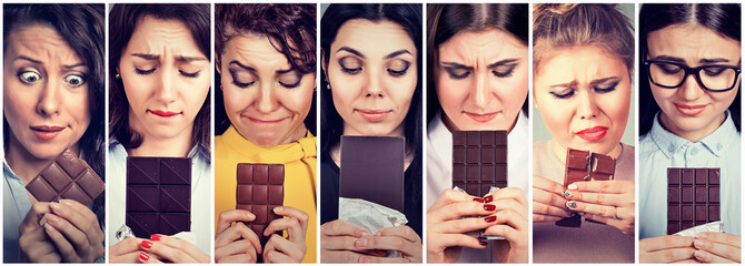 Women tired of diet restrictions craving sweets chocolate