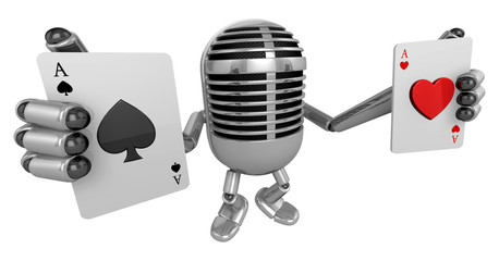 3D Classic Microphone Mascot hand is holding a playing card. 3D Classic Microphone Robot Character Series.