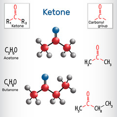 Acetone and butanone ( methyl ethyl ketone) molecule - structural chemical formula and model