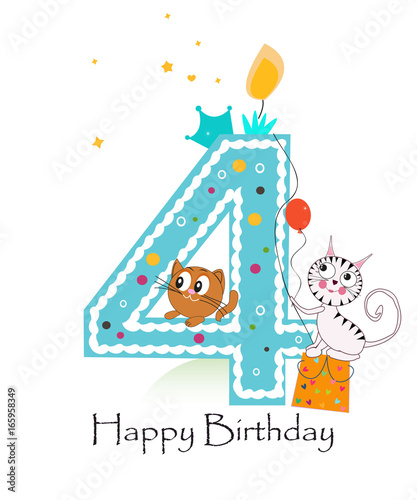 """""""Happy Fourth Birthday With Cats Baby Boy Greeting Card"""