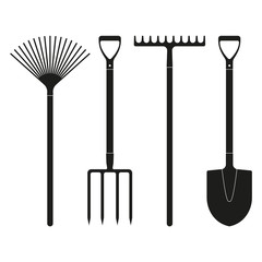 Shovel or spade, rake and pitchfork icons isolated on white background. Gardening tools design. Vector illustration.