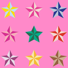 Colorful star icons isolated on pink background. Vector stars set