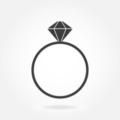 Ring with diamond. Vector icon.