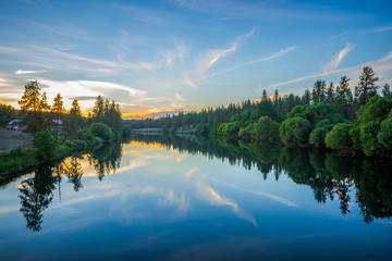 nine mile reservoir on spokane river at sunset
