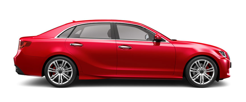 Red executive car on white - side angle