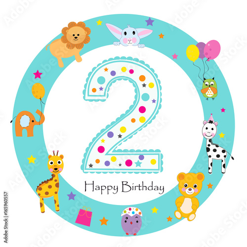 """Happy Second Birthday Candle And Animals "" Stock Photo"