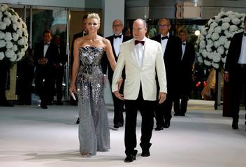 Prince Albert II of Monaco and his wife Princess Charlene arrive for the annual Red Cross Gala in Monaco