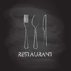 Spoon, fork and knife flat icons. Restaurant emblem template isolated on blackboard texture with chalk rubbed background. Kitchen utensils. Vector illustration.