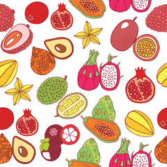 Seamless hand drawn pattern with tropical exotic fruits. Vector