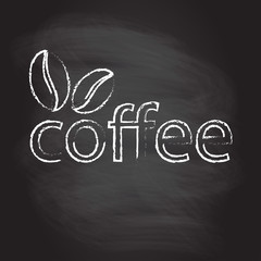 Coffee sign, emblem or label with coffee beans isolated on blackboard texture with chalk rubbed background. Cafe decoration template. Vector illustration.