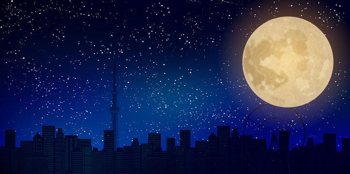 月 東京 十五夜 背景