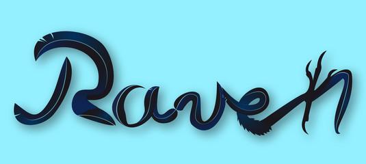Schriftzug Rabe – Raven