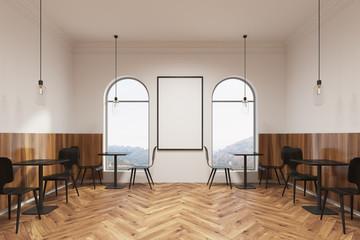 Modern black furniture cafe interior, poster