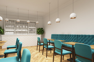Coffee shop with blue chairs, side view