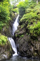 Silky Waterfall with mode stone trees landscape