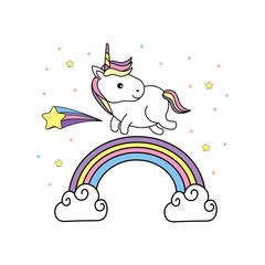 cute unicorn with hair and rainbow design