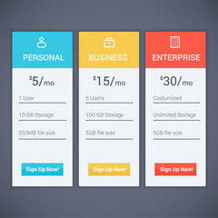 Web menu Plan Pricing with three optional subscription model and button