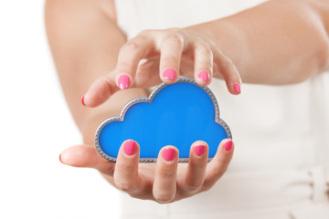 Secure Online Storage Concept. Two Woman Hands Protecting Cloud Computing Symbol.