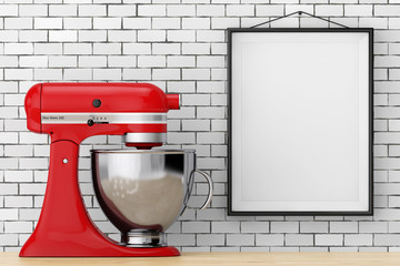 Red Kitchen Stand Food Mixer in front of Brick Wall with Blank Frame. 3d Rendering