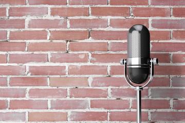 Vintage Silver Microphone. 3d Rendering