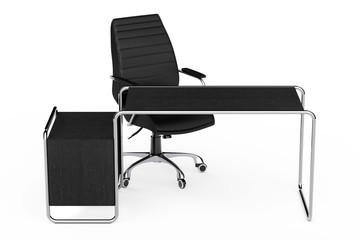 Large Modern Empty Wooden Office Table with Drawers and Black Leather Office Chair. 3d Rendering