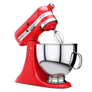 Red Kitchen Stand Food Mixer. 3d Rendering