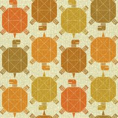 Бесшовный фон в тёплых тонах с декоративным изображением черепах.