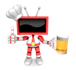 Red TV chef Mascot the left hand best gesture and right hand is holding a beer mug. Create 3D Television Robot Series.