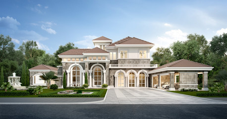 3d rendering modern classic house with luxury design garden