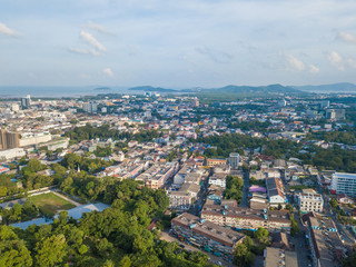 Beautiful landscape of Phuket city from aerial view