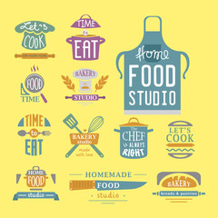 Cooking badge motivation text vector illustration bakery shop food typography labels design elements