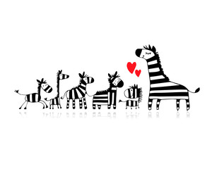 Zebra family, mother and children, sketch for your design