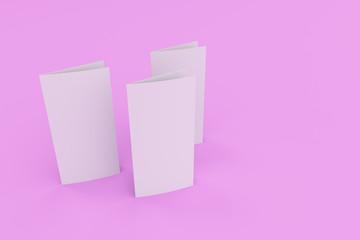 Blank white two fold brochure mockup on violet background