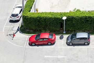 Parking area with small garden for cars in general public park