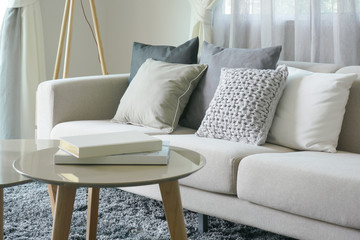 Earth tone style sofa and pillows with round center table in the living room