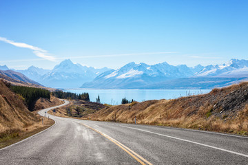 Scenic Road to Mount Cook National Park,  South Island, New Zealand