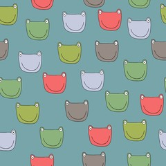 Seamless pattern with frogs. Funny faces frogs.