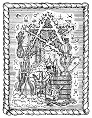 Black and white mystic drawing with alchemical symbols, skull, pentagram and laboratory equipment in frame